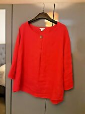 Womens Ladies Monsoon Scarlet  Linen 3/4 Sleeve Button Cuff Top in Hot Pink