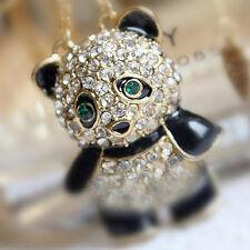 Schick Damen Mode Halskette Pullover Lange Kette Elegant Anhänger Panda Bär