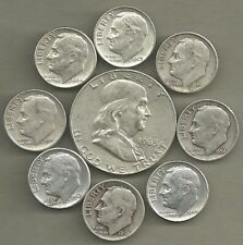 New ListingFranklin Half Dollar & Roosevelt Dimes- 90% Silver- Us Coin Lot - 9 Coins #4689
