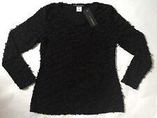 NWT Elemente Clemente Vine Shirt LAGENLOOK Black Sheer Crinkle Top Blouse Size 1