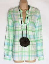Women's Vintage RIVER WOODS Long Sleeve Check Blouse Tunic Top Size UK14