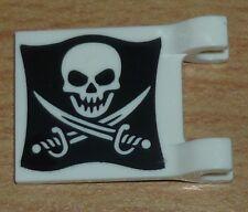 Lego Piraten 1 Fahne / Flagge (2 x 2) mit Totenkopf in schwarz / weiß, neue Vers