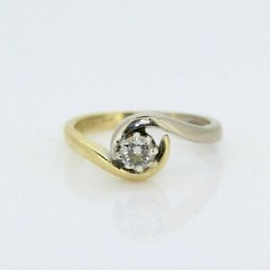 18ct Multi-Toned Gold 0.25ct Diamond Solitaire Ring (Size I 1/2, US 4 3/4)