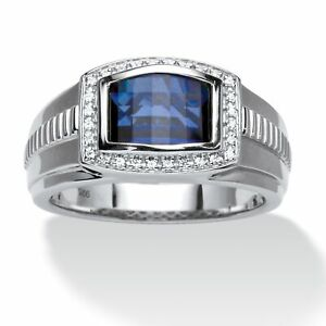 Men's Created Sapphire Ring in Platinum over .925 Silver