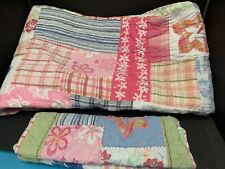 Pottery Barn Kids Pink Patchwork SURF Island Aloha TWIN Quilt SHAM Bedroom Bed