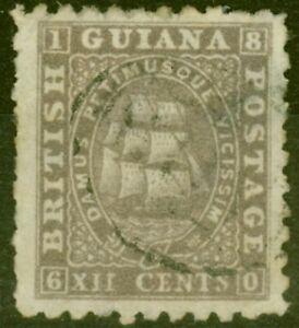 British Guiana 1865 12c Grey-Lilac SG65a P.10 Good Used Ex-Frederick Small
