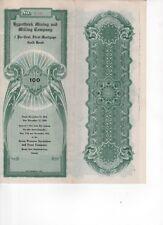 Vintage $100 Gold Bond Certificate Hypotheek Mining Co. 1914