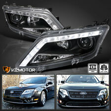 2010-2012 Ford Fusion Black LED DRL Projector Headlights Head Lamps Pair