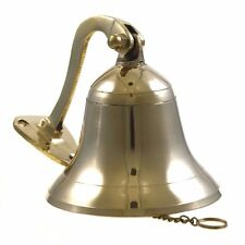 """Ship Small Bell 4"""" Brass Wall Hanging Ring Polished Outdoor Nautical Decorations"""