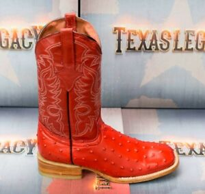 Mens Western Cowboy Boots Ostrich Quill Pattern Genuine Leather Square Toe