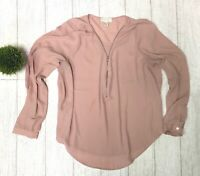 Forever 21+ Pale Pink Zipper Front VNeck Long Sleeve Sheer Tunic Shirt Blouse 2X