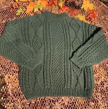 New Greek Knitwear Womens Sweater Sz L Chunky Cable Knit Green 100% Wool Greece