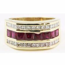 14k Yellow Gold Square Princess Cut Red Ruby Diamond 3 Row Band Ring 3.10 TCW