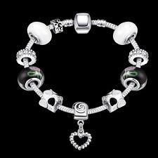 Women 925 Silver Filled European Charms Bracelet Chain Bead Crystal Fashion Gift