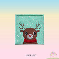 Reindeer Christmas XMAS Embroidered Iron On Sew On Patch Badge For Clothe etc