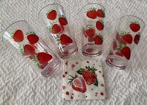Clear plastic set/4  Strawberry  Tall drinking  glass 6.5 t X 4 w  NWT