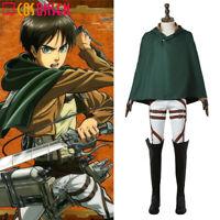 Attack On Titan Shingeki No Kyojin Eren Yeager Cosplay Costume Full Set Cloak