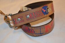 New Ole Miss University Rebels Football Distressed Leather Belt - Size 44 - Nice