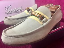 $820 Mens Oatmeal Gucci Suede Bamboo Loafers Sz 8.5 G / 9.5 US Made In ITALY