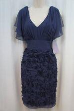 JS Collections Dress Sz 6 Blue Sheer Split Sleeves V Neck Cocktail Evening dress