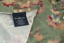 "Ralph Lauren ""Melanie"" Full Size Bed Skirt-100% Cotton-Green Pink Cream 15"" Drop"