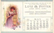 Lone Tree Iowa~Lutz & Potter General Merchandise Millinery~May Lady~1911 PC