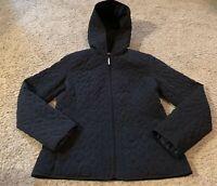 Women's Esprit Black Hooded Quilted Jacket Size Medium