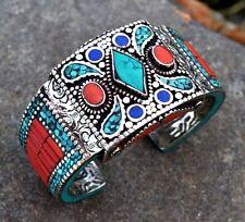Nepal Tibetan Hinge Bangle Bracelet Tibet Turquoise Coral Cuff Ethnic Jewelry