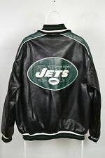 NEW New York JETS NFL Faux Leather JACKET MENS SIZE XLARGE Black Green Grey