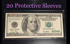 20 SEMI-RIGID Vinyl Money Protector Sleeves US Dollar Bill CURRENCY HOLDERS BCW