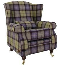 Arnold Fireside High Back Wing Armchair Blackberry Crumble Tartan Tweed Wool