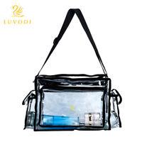 """Clear Tote Bag Transparent Cosmetic Shoulder Handbag Black Trim Medium 16X9X7.5"""""""
