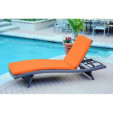 Orange Cushion Outdoor Patio Chaise Lounge Chair Home Seating Furniture Poolside