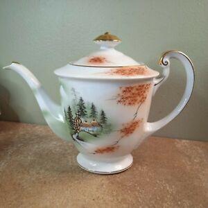 Vintage Kutani Japanese Teapot, Hand Painted Watermill Scene (Restoration Spout)