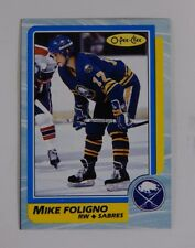 1986-87 OPC O-Pee-Chee Mike Foligno Box Bottom Blank Back Hand Cut