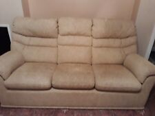 Excellent condition 3 piece suite in textured buttermilk fabric - REDUCED