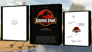 Jurassic Park Script/Screenplay With Movie Poster And Autographs Signed Print