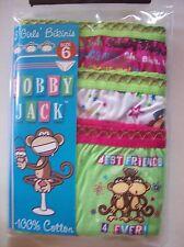 Bobby Jack Underwear Underpants Girls 3 Pair Bikinis Monkey Cotton Sz 6 NIP