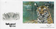 Guernsey 2012 FDC Endangered Species Bengal Tiger 1v S/S Cover Wild Animals