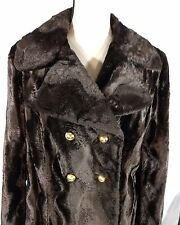 Vtg Faux Fur Coat Plush Brown Double Breasted Wide Lapel Robert Hall