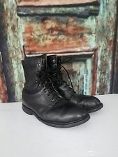 Vintage ANSI Steel Toe Black Leather Combat Military Boots Mens size 8 wide 1994