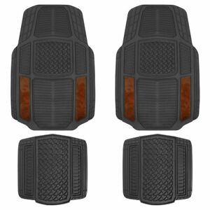 ACDelco All-Weather Car Floor Mats Front w/ Rear Liners (Dark Wood, 4 PC)