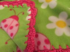 """Handmade Fleece Girls Baby Blanket Crochet Pink Ruffle Green W Ladybugs 31""""x40"""""""