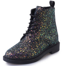 Glitter Martin Boots Womens Lace up Casual Leather Winter Snow Warm Combat Shoes
