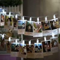 20 LED Photo Window Pegs Clip Fairy String Light Wedding Hanging Battery Power