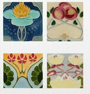 Reproduction Art Nouveau ceramic tiles Kitchen Bathroom 4 designs 2 Sizes