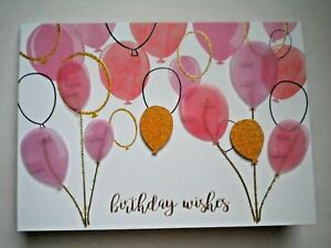 """C.R.Gibson ~ GLITTERY """"BIRTHDAY WISHES"""" BALLOONS GREETING CARD + ENVELOPE"""