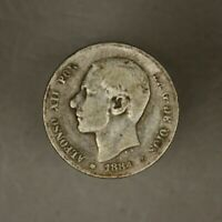 Spain 1884/3 Peseta Rare Date Seldom Offered