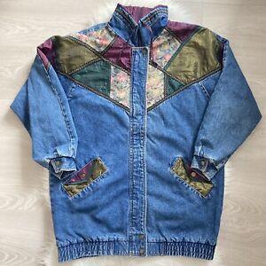 Weathered Blues Denim Jacket Size Medium Vintage Womens 90s Boho Patchwork Hippy