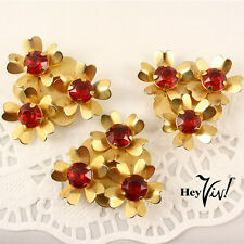 Set of 3 Red Rhinestone Dress Clips - Vintage Flowers for Scarf Hat Lapel etc